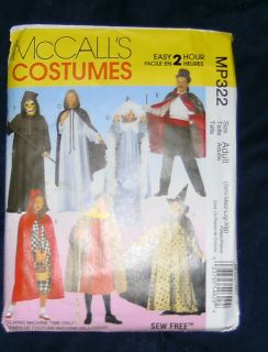 PLAY ADULT COSTUME PATTERN CAPE HOODED SHROUD WIZARD RIDING ROBIN HOOD
