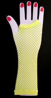 YELLOW Fingerless Fishnet Gloves Punk Hooker Dance Costume Dress Up