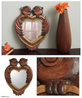 Owl Heart Handmade Wood Frame Mirror Wall Decor from N