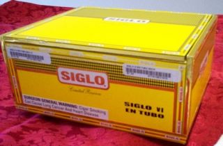 empty SIGLO vi EN TUBO CIGAR BOX limited reserve brightly papered