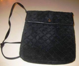 Jay Herbert NY Quilted Suede Black Handbag Purse
