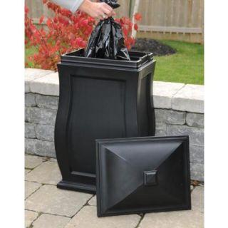 Mansfield 32 Multi Purpose Outdoor Storage Bin Trash Can Black