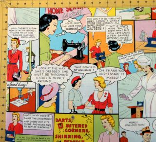 Alexander Henry Home Sewing Is Easy Fabric Retro Vintage Comics