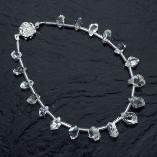 Herkimer Diamond Quartz Crystal Bracelet Length Selectable 6 8 Inches