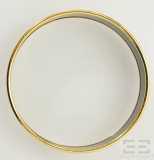 Hermes Gold Plated Brown Western Print Wide Enamel PM 65 Bracelet