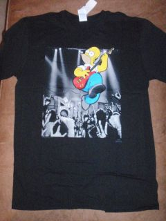 Mens The Simpsons Bart Homer Simpson Concert Guitar T Shirt New with