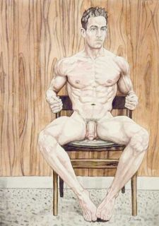 boy, homme nu, watercolor print nude male at wood paneled wall gay