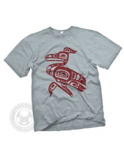 Totem Heron Native American Indian Art Pole T Shirt XL Heather Grey