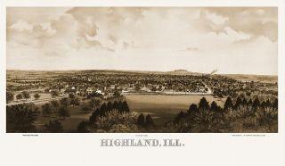 Highland Birds Eye View Map 1894 Illinois Madison County Highland