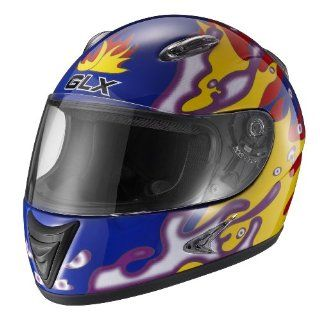 GLX Dragon Flame Youth Full Face Motorcycle Helmet (Blue, Medium