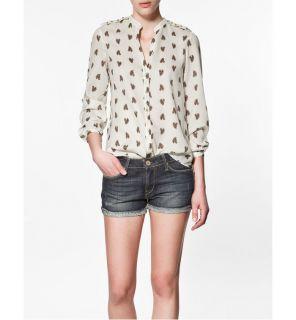 Spring Summer Woman Fashion Horse Prints Chiffon Shirts Tops Blouse s