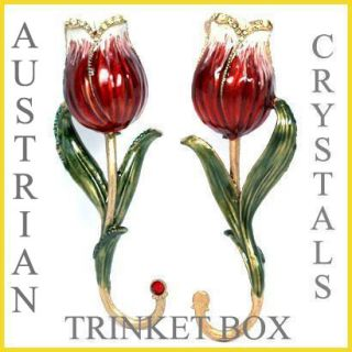 Red Rose Jewelry Trinket Box w Austrian Crystals Magnetic Closure