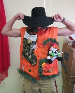 HILLBILLY LIGHT UP UGLY CHRISTMAS SWEATER party vest REDNECK HUNTER