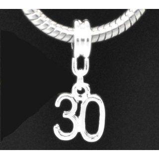 Divine Beads Age 30 Silver Plated Dangle Charm Bead fits Pandora