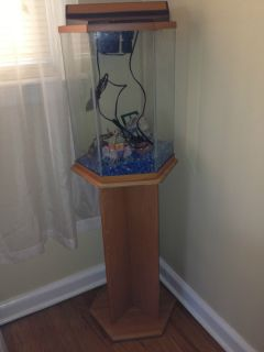 92 gallon CORNER bowfront FISH TANK W STAND Canopy Reef