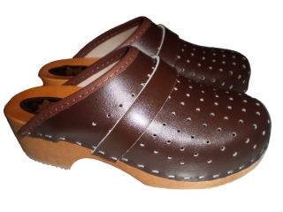 Genuine Brown Leather Wooden Sole Swedish Style Clogs Womens Mens All