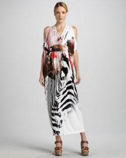 T5GDR Melissa Masse Zebra Print Caftan Dress, Womens