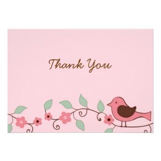 Spring BIrd Flower Flat Thank You Note Cards Personalized Invite