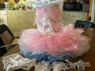 Beautiful Girls PAGEANT DRESS Size 4T Custom Made SEMI GLITZ Matching