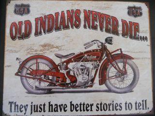 Old Indian Motorcycles Never Die Sign   Gas Station Bike Shop Steel