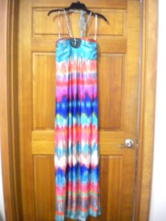 Heart Soul Womens Plus Size 1X Beaded Halter Style Long Maxi Sundress