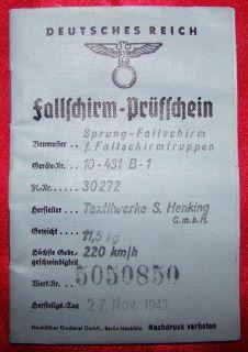 Original WWII German Parachute Log Book for Fallschirmtruppen Chute
