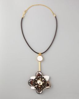 Y1ETR Marni Flower Pendant Leather Necklace
