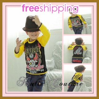 Boutique Boy Hip Street Motorcycle Skull Tatoo Shirt Top 100 Cotton 2T