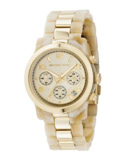 Michael Kors Two Tone Jet Set Watch, Horn/Gold