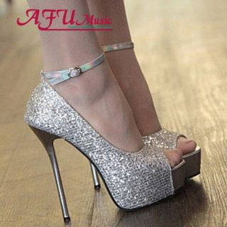 Slim Platform Ankle Strap Open Toe High Heel Shoes Sandals