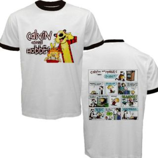 New Calvin and Hobbes Funny Strip Comic Ringer T Shirt
