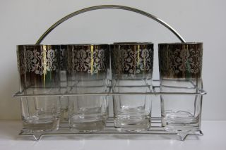 Retro Cocktail Highball Glasses Barware Tumblers Silver Overlay w