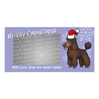 Christmas Poodle (brown puppy cut) Photo Cards