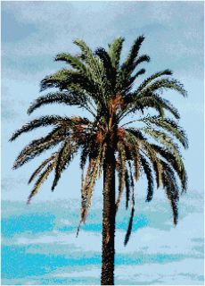 Palm Tree Blue Sky Counted Cross Stitch Pattern Nature