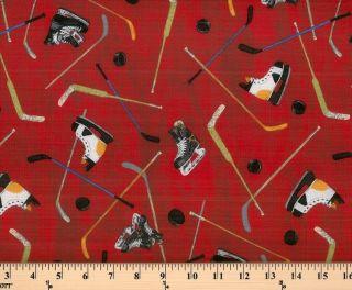 Hockey Gear Sticks Stick Pucks Puck on Red Sports Cotton Fabric Print