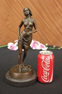 Signed Milo Sexy Woman in Lingerer Bronze Sculpture Art Deco Figurine