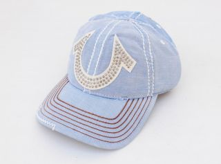 NEW TRUE RELIGION MEN WOMEN HORSESHOE STUDDED BLUE TRUCKER HAT CAP