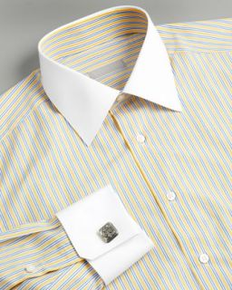 Stefano Ricci Striped Dress Shirt, Yellow & Blue   Neiman Marcus