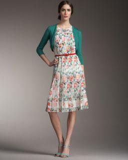 Oscar de la Renta Bolero & Pleated Floral Print Dress
