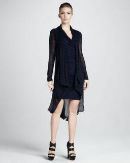 473E Donna Karan Long Draped Tunic & Cap Sleeve Cowl Dress