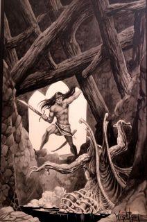 Bernie Wrightson Painting R E Howard Conan Reader