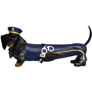 Hot Diggity K 9 Patrol Police Officer Cop Dachshund Dog Figurine by