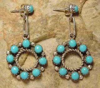 Zuni Indian Old Pawn Turquoise and Silver Earrings NR