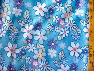 Hello Kitty Flower in Blue Cotton Fabric Daisy 63 Wide