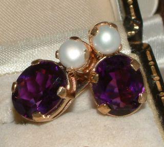 Style 9 Carat Gold Pearl Amethyst Drop Earrings Nickerla