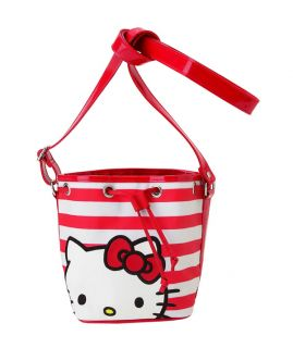 New Sanrio Hello Kitty Red Stripes Shoulder Pouch Purse Bag