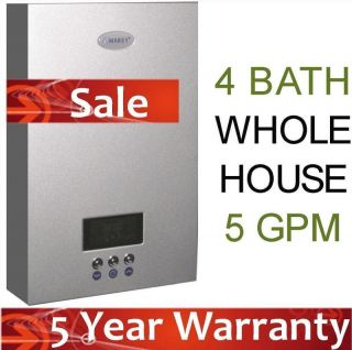 Tankless Hot Water Heater Electric On Demand 5 GPM Whole House Marey