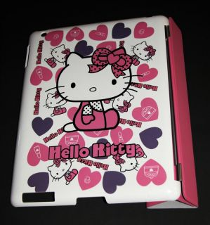 Hello Kitty Hard Back Case Leather Smart Cover Combo for Apple iPad 2