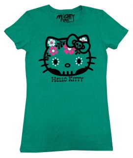 Hello Kitty Sugar Skull Face Sanrio Mighty Fine Juniors Babydoll T