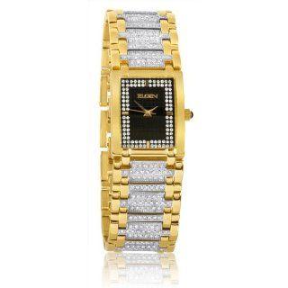 Elgin FG061 Mens Swarovski Crystal Accented Case Gold Tone Bracelet